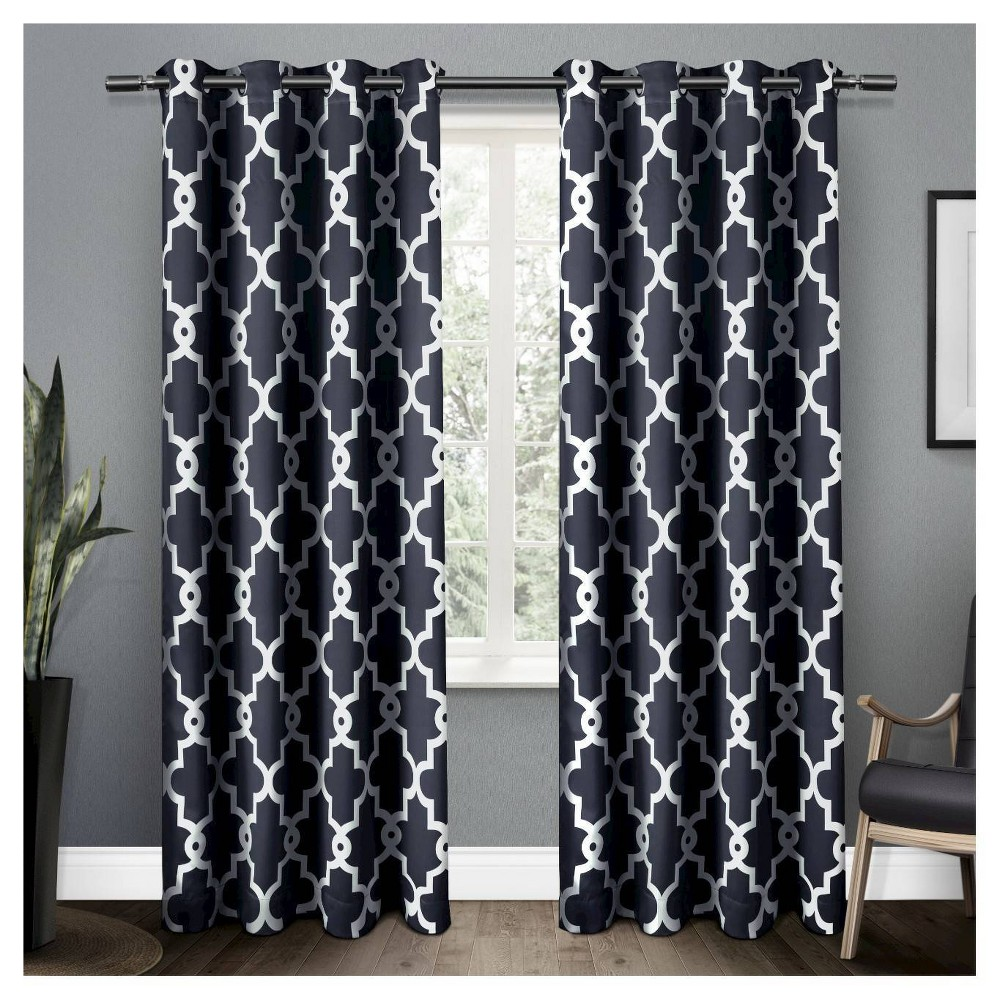 Set Of 2 96 34 X52 34 Ironwork Sateen Woven Room Darkening Window Curtain Panel Blue Exclusive Home