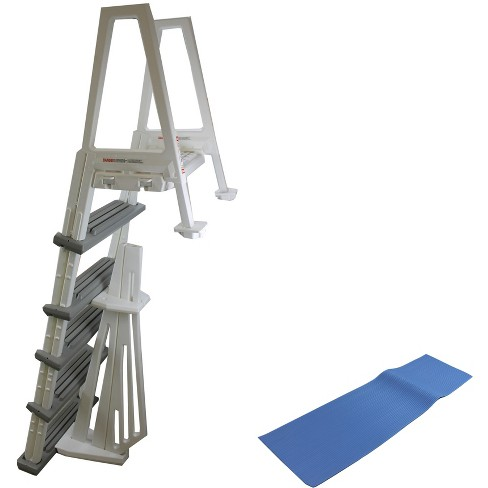 """Confer 6000B Heavy Duty Aboveground In-Pool Swimming Pool Ladder 48""""-54"""" W/ Mat - image 1 of 6"""