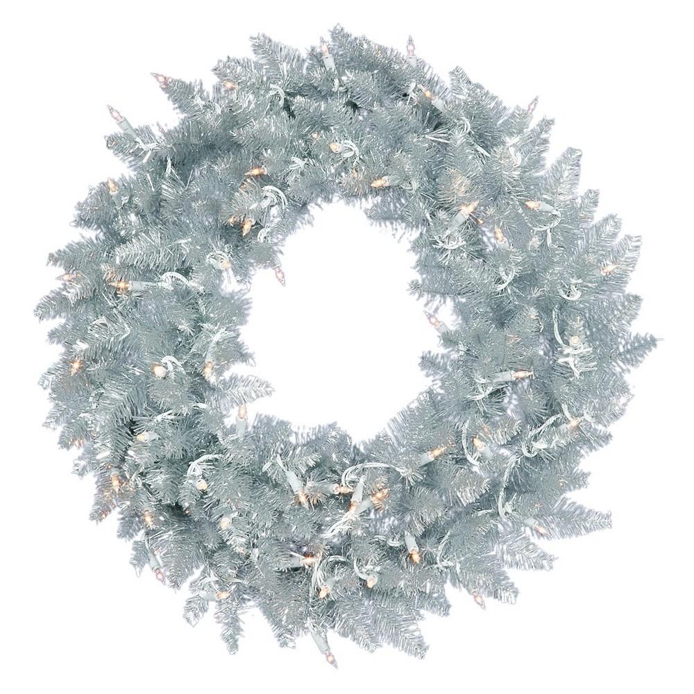 30 Christmas Unlit Fir Artificial Wreath Silver