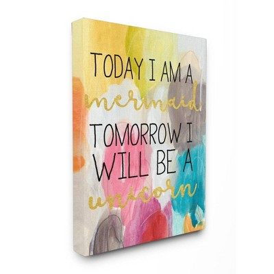 "24""x1.5""x30"" Today Mermaid Tomorrow Unicorn Oversized Stretched Canvas Wall Art - Stupell Industries"