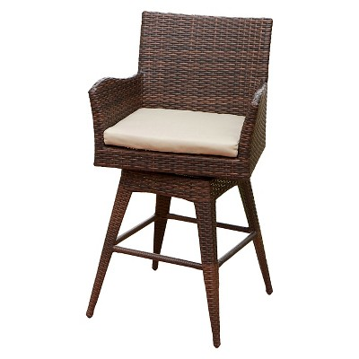 Braxton Wicker Swivel Patio Bar Stool With Cushion   Multi Brown    Christopher Knight Home