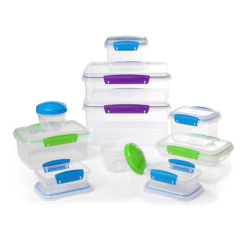 Sistema Klip It Accents 20pc Food Storage Container Set Light Blue