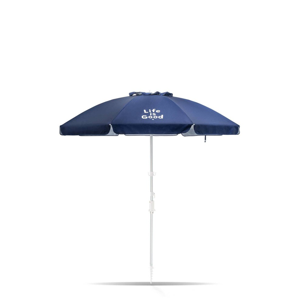 Image of 7' Aluminum Tilt Beach Umbrella Navy Solid - Life is Good, Blue