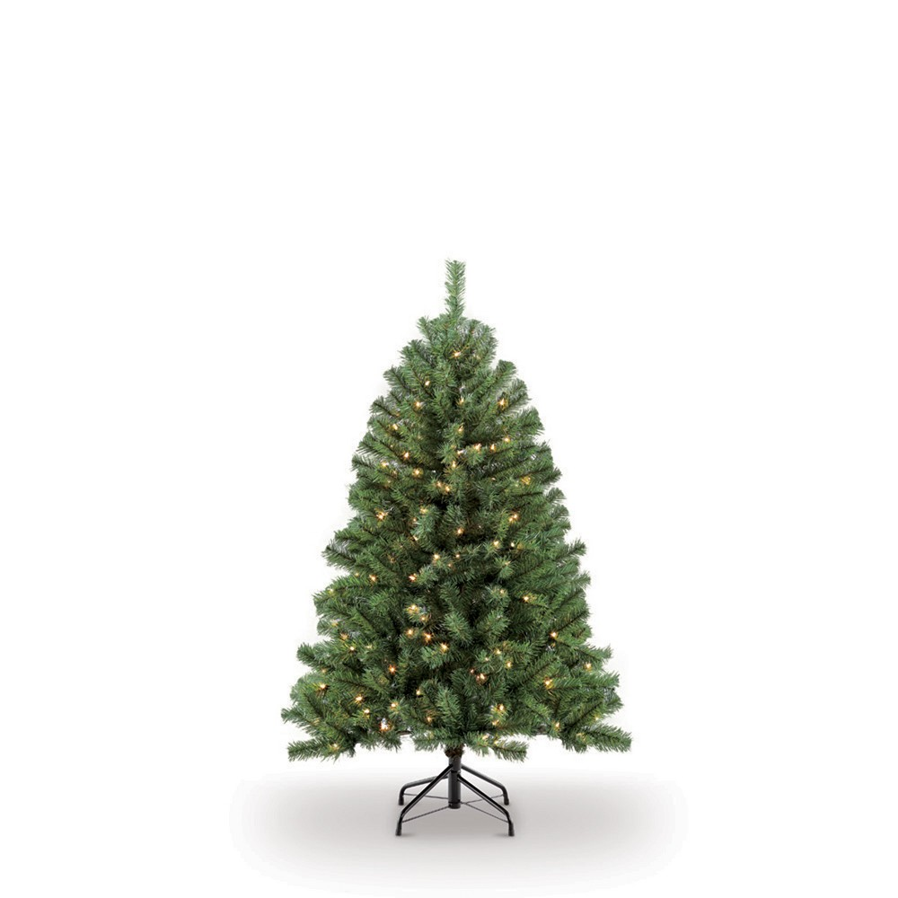 Image of 4.5ft Pre-lit Artificial Christmas Tree Newcastle Fir - Puleo