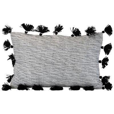 """Striped Hand Woven 14x22"""" Outdoor Decorative Throw Pillow with Hand Tied Tassels - Foreside Home & Garden"""