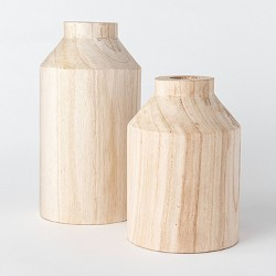 Decorative Wooden Vase Natural - Threshold™ designed with Studio McGee