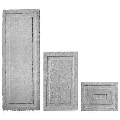 mDesign Soft Microfiber Polyester Bathroom Spa Mat Rugs/Runner, Set of 3 - Gray