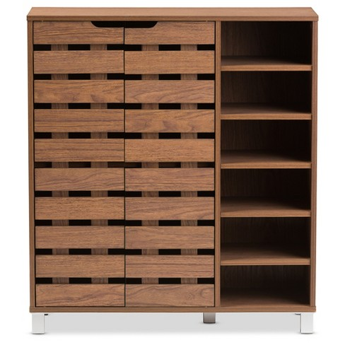 Shirley Modern And Contemporary 2 Door Shoe Cabinet With Open Shelves Walnut Brown Baxton Studio Target