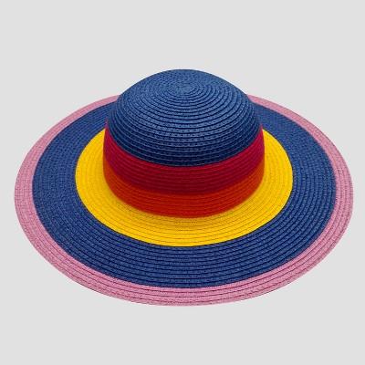 Baby Girls' Striped Floppy Hat - Cat & Jack™ Blue/Purple/Yellow 12-24M