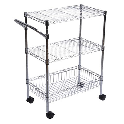 3-Tier Storage and Utility Cart with Wheels - Chrome - Room Essentials™