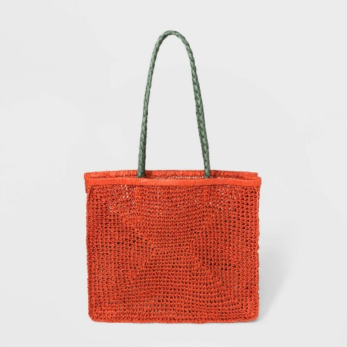 Straw Shopper Tote Handbag With Braided Handle - Universal Thread™ - image 1 of 3