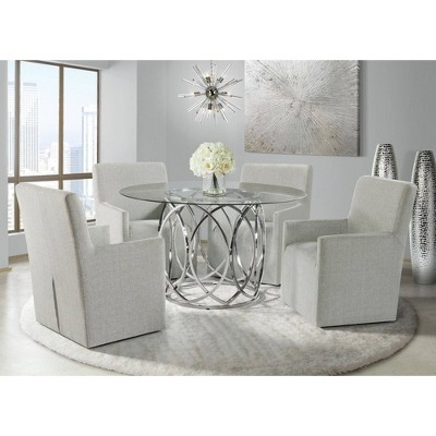 5pc Marcy Standard Height Dining Set Chrome - Picket House Furnishings
