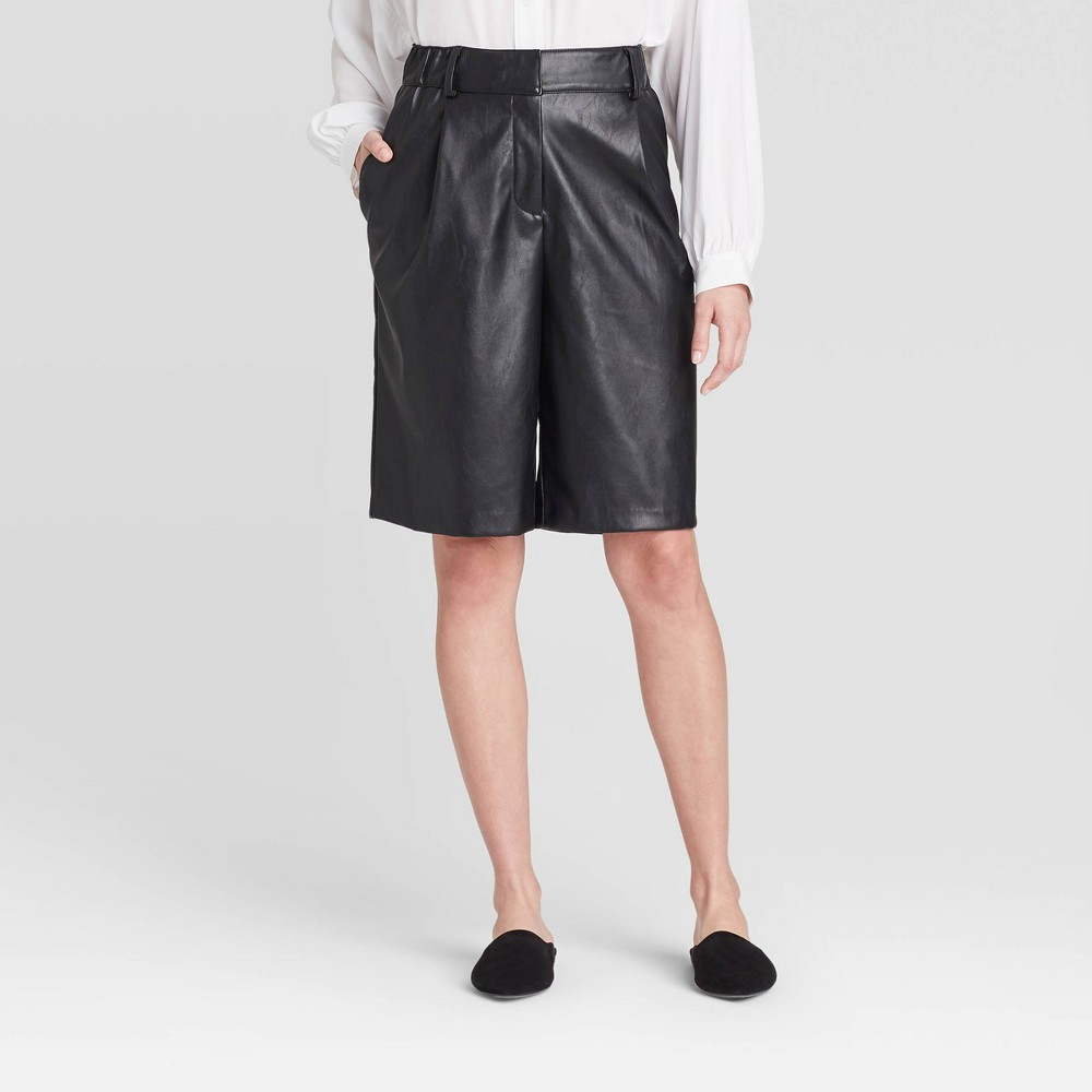 Women's Mid-Rise Wide Leg Faux Leather Shorts - Prologue Black S was $27.99 now $19.59 (30.0% off)