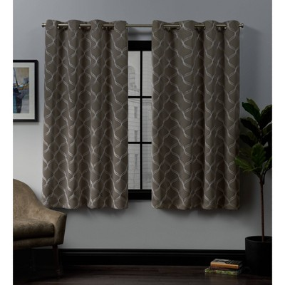52 x63  Amelia Embroidered Grommet Top Blackout Window Curtain Panels Brown - Exclusive Home