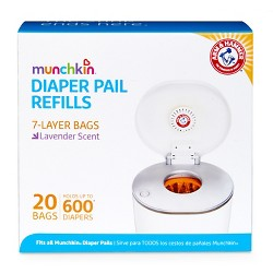 Munchkin Arm & Hammer Diaper Pail Snap, Seal and Toss Refill Bags, 600ct, 20pk