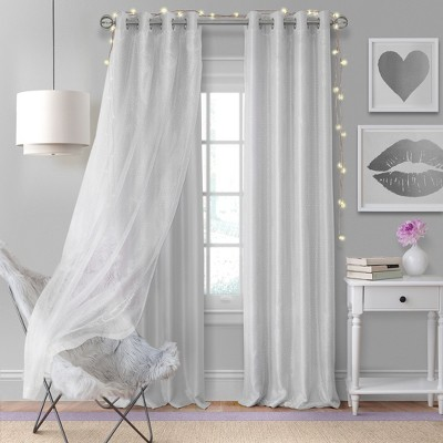 Aurora Kids Room Darkening Sheer Sparkle Overlay Curtain Panel - Elrene Home Fashions