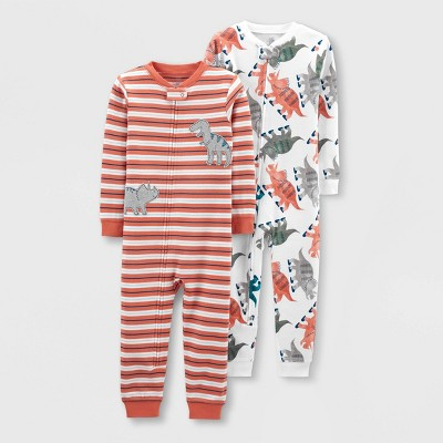 Baby Boys' 2pk Footless Dino Pajama Jumpsuit - Just One You® made by carter's Orange/White