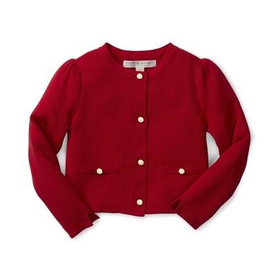 Hope & Henry Girls' Red Milano Stitch Cardigan, Kids