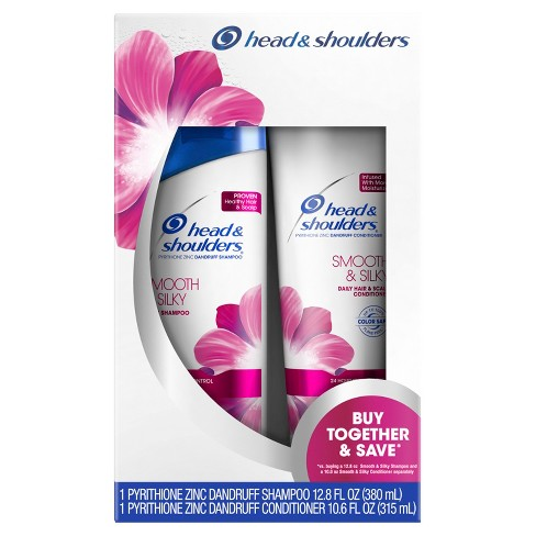 Head & Shoulders Smooth & Silky Dandruff Shampoo + Conditioner Twin Pack - 23.4 fl oz - image 1 of 4