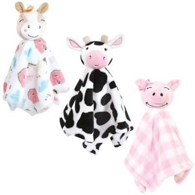 Hudson Baby Infant Girl Animal Face Security Blanket, Farm, One Size