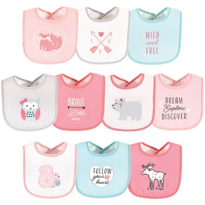 Hudson Baby Infant Girl Cotton Terry Drooler Bibs with Fiber Filling, Girl Woodland, One Size