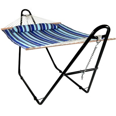 Catalina Beach Quilted Double Fabric Hammock and Multi-Use Stand - Blue Stripe - Sunnydaze Decor