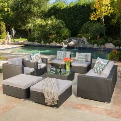 Santa Rosa 9pc All-Weather Wicker Patio Chat Set - Christopher Knight Home