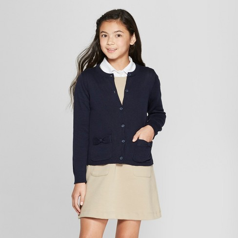 French Toast Girls' Knit Long Sleeve Bow Uniform Cardigan Navy