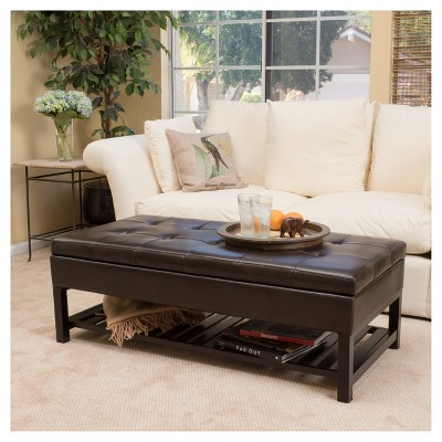Miriam Wood Rectangle Storage Ottoman Bench With Bottom Rack   Espresso    Christopher Knight Home