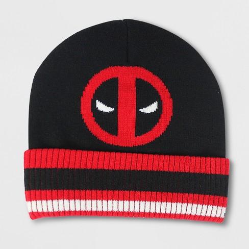 Men s Deadpool Cuff Beanie - Black Red One Size   Target d78e3288ce9
