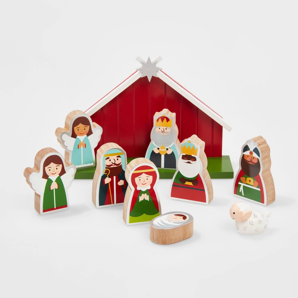 Image of 10pc Wooden Christmas Nativity Decorative Figurine Set - Wondershop