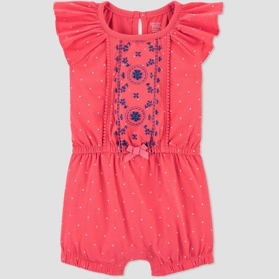 Baby Girls' One Piece Geo Shape Jumpsuit - Just One You® made by carter's Coral Newborn