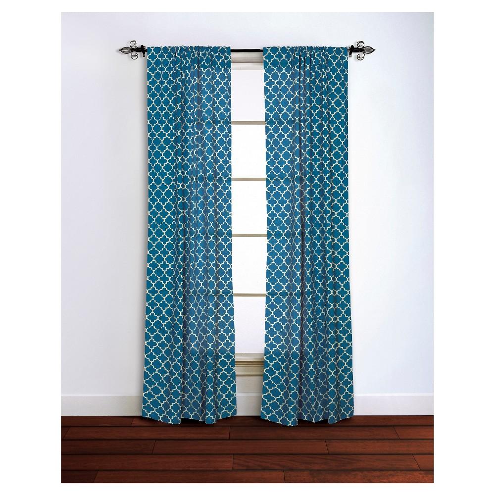 Curtain Panels Rizzy Home Nvy Quatrefoil Design, Blue