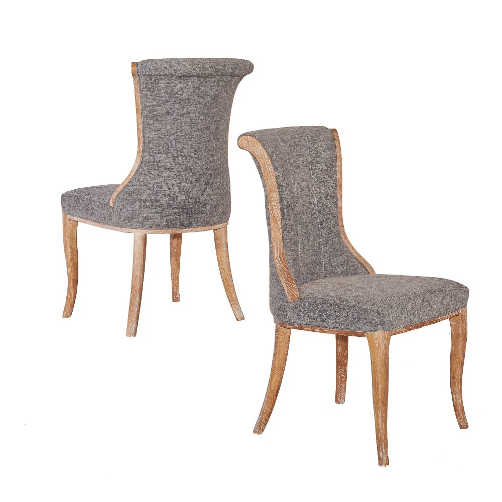 Set Of 2 Sheffield Flared Back Chairs Charcoal Gray Linon