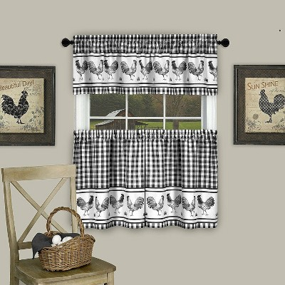 GoodGram Plaid Rooster Kitchen Curtain Tier & Valance Set