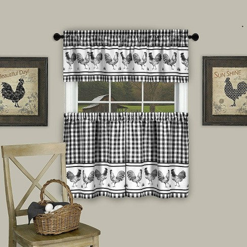 Goodgram Plaid Rooster Kitchen Curtain Tier Valance Set 58 In W X 24 L Black Target