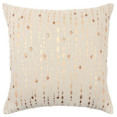 Striped Diamond Oversize Square Throw Pillow Gold - Rizzy Home