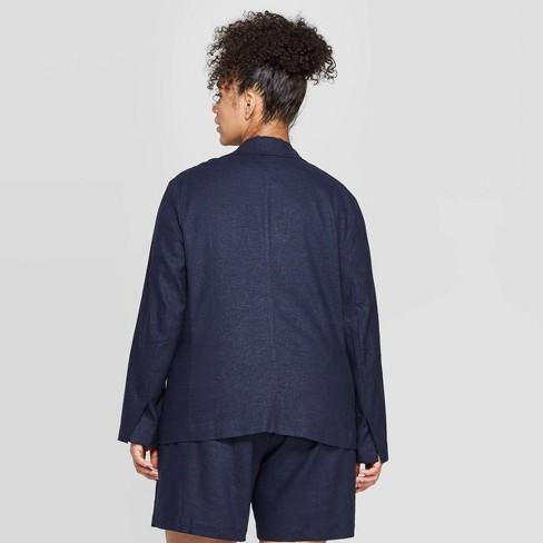 a1b9658ee8e Women s Plus Size Linen Blazer - Ava   Viv™   Target