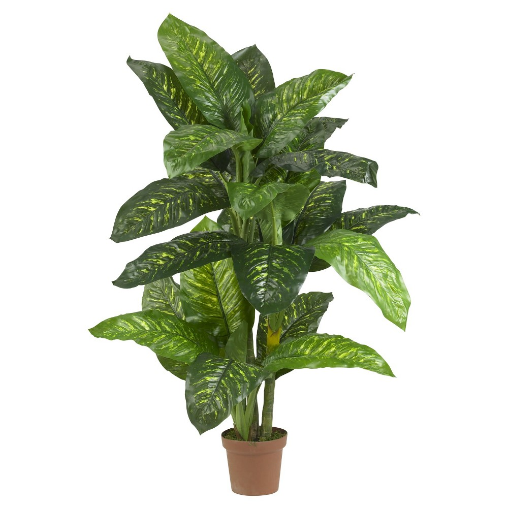Nearly Natural 5' Dieffenbachia Silk Plant (Real Touch) Give your decor a bold and colorful look with this Dieffenbachia Silk Plant (Real Touch) from Nearly Natural. Featuring lush leaves shooting off in every direction, this decorative accent makes the perfect entryway piece and works well to add life to a corner space. Complete with a handsome planter, perfect for both home and office decorating. Silk arrangements are manufactured using synthetic materials, such as polyester material or plastic, and are well designed and constructed to be life-like in appearance. This item may need to be re-shaped when removed from the secure box to allow it to reach its fullest size. Your plant will look beautiful for years to come; simply wipe clean with a soft dry cloth when needed. Measurements are from the bottom of the container to the furthest extended leaf or branch on the tree. Width dimensions are also calculated from each furthest outstretched dimension. MATERIALS: Polyester material, plastic, Iron, Wood, PVC Leather Color: Green. Gender: unisex.