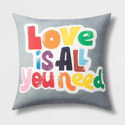 Square Outdoor Throw Pillow Love Is All You Need - Pride