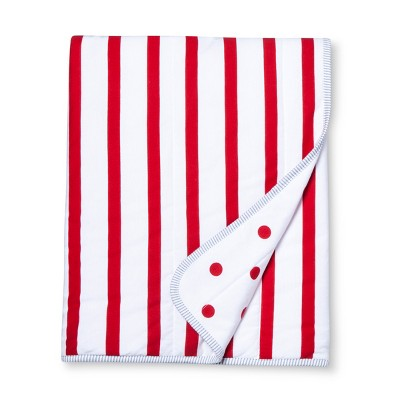 Jersey Knit Reversible Baby Blanket Stripes - Cloud Island™ - Red/White