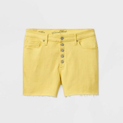 Women's Plus Size High-Rise Jean Shorts - Universal Thread™ Yellow