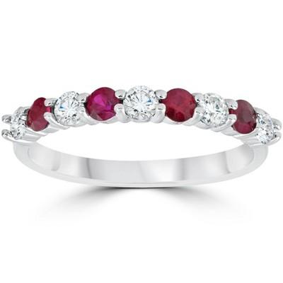 Pompeii3 1/2CT Ruby & Diamond Wedding Ring 10K White Gold