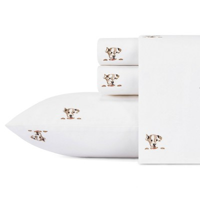 King Printed Pattern Percale Sheet Set Natural Dog - ED Ellen DeGeneres
