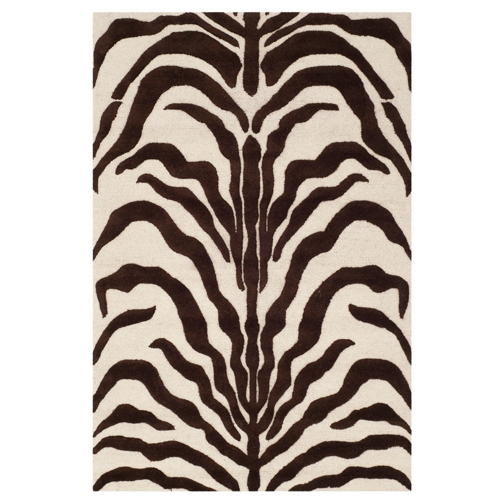 3 X5 Geometric Accent Rug Ivory Brown Safavieh