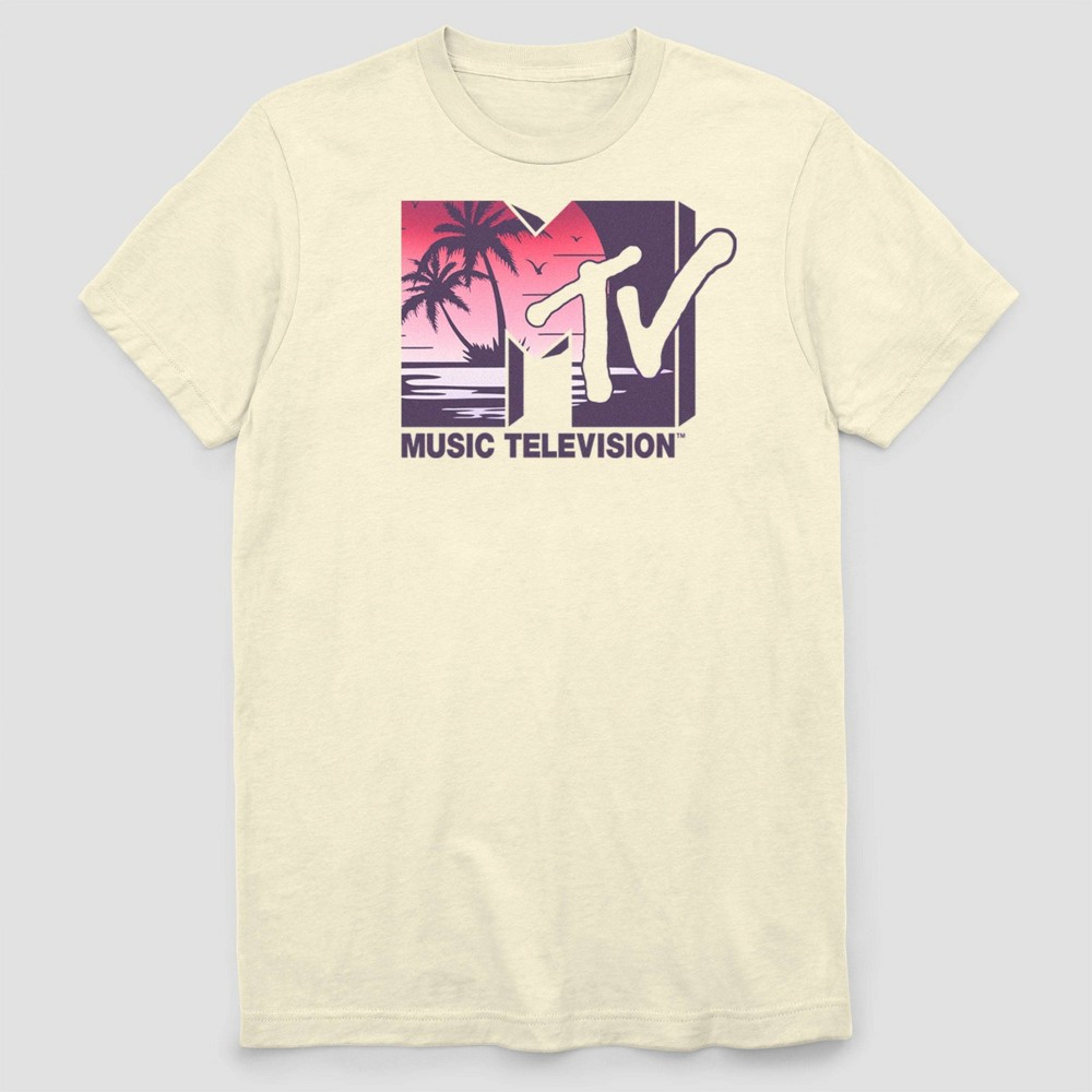 Image of Men's Big & Tall MTV Big & Tall Paradise Beach Logo Short Sleeve Graphic T-Shirt - Cream 3XL, Men's, Beige