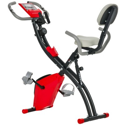 Soozier Folding Upright Exercise Bike, Recumbent Stationary Cycling with Resistance Band