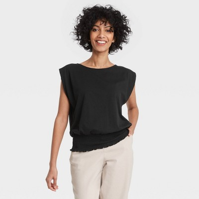 Women's Short Sleeve Boat Neck Smocked Hem T-Shirt - A New Day™