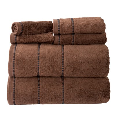 Solid Bath Towels And Washcloths 6pc Chocolate - Yorkshire Home
