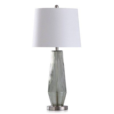 Erica Transitional Ribbed Glass Pillar Design Table Lamp with Fabric Shade Sage Green - StyleCraft
